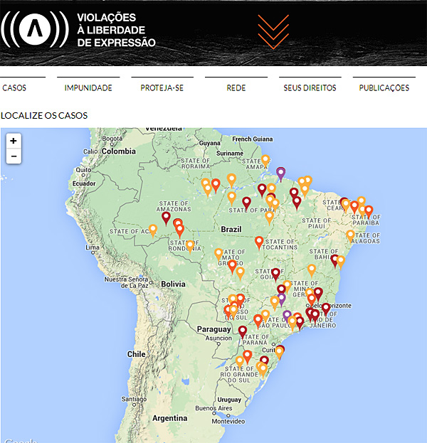 Advocacy Groups In Mexico Brazil Map Attacks On Journalists To - Map violation