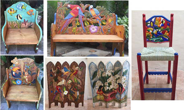 hand carved and painted mexican furniture sale. Black Bedroom Furniture Sets. Home Design Ideas